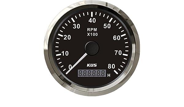 Kus Universal Tachometer RPM Drehzahlmesser mit Stunde Meter 8000/U//min f/ür Benzin-Motor 85/mm 12/V//24/V mit Hintergrundbeleuchtung