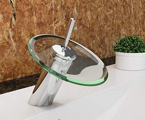 VILSTEIN© Waschtisch-Armatur Einhebelmischer Einhand Wasserhahn mit Wasserfall-Effekt Armatur für Bad Badezimmer Waschbecken, Verchromt, Glas-Auslauf, Hell-Grün, Standard Anschluss 1/2