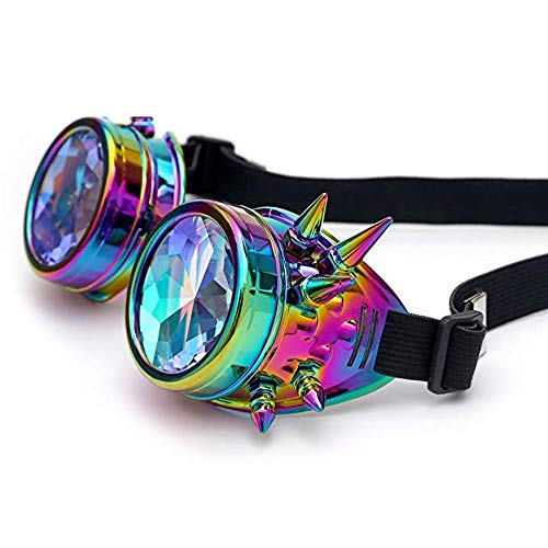 WULE-Sunglasses Unisex Kaleidoskop Goth Cosplay Party Nieten Vintage Steampunk Goggles Bling Brille (Farbe, Größe : Free Size)