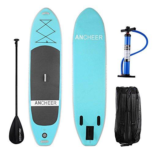 Preisvergleich Produktbild Ancheer DA-01 303 cm PVC Aufblasbarer Stand Up Paddle Board, iSUP Board mit verstellbarem Paddel und Dual Action Pump und Rucksack, 15 cm Dick (AS10-G)