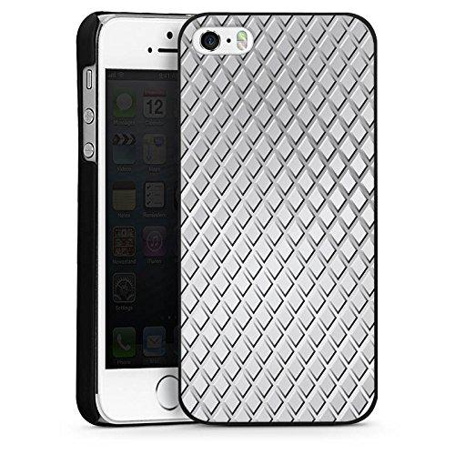 Apple iPhone 5s Housse Étui Protection Coque Acier Losanges Motif CasDur noir