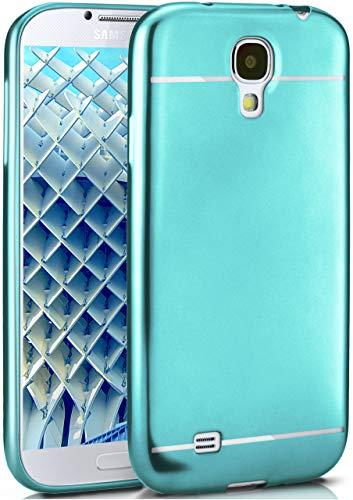 moex Samsung Galaxy S4 | Hülle Silikon Türkis Smooth Back-Cover Chrom Matt Silikonhülle Ultra-Slim Schutzhülle Metallic Handy-Hülle für Samsung Galaxy S4 / S IV Case Dünn (Phone 4s Cases Galaxy Bling)