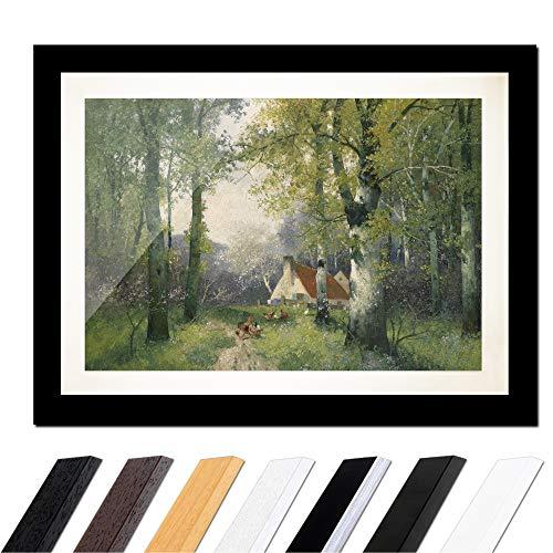 Bild mit Rahmen - Adolf Kaufmann Frühling 30x20cm ca. A4 - Gerahmter Kunstdruck inkl. Galerie Passepartout Alte Meister - Rahmen schwarz glatt