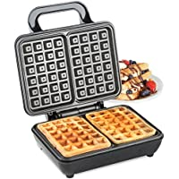 VonShef Dual Belgian Waffle Maker 1000W – Compact Stainless Steel Design with Non-stick Coated Plates & Automatic Temperature Control