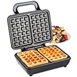 VonShef Waffle Maker, Dual Belgian Waffle Easy Clean Non-Stick Coated Plates & Automatic Temperature Control, Compact Stainless Steel Design - 1000W
