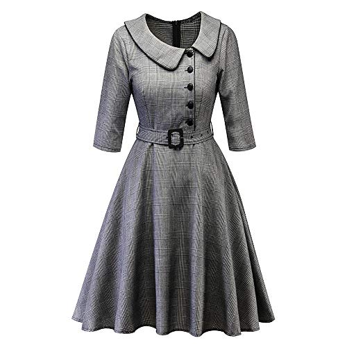 MERICAL Kleid Damen Vintage Prinzessin Plaid Peter Pan Kragen Unregelmäßige Party Aline Swing Dress