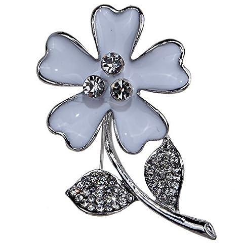 Frau Legierung Rhinestone Brosche Blume Einfach Blatt Mode Elegant Bouquet Kleid Zubehör,White-L