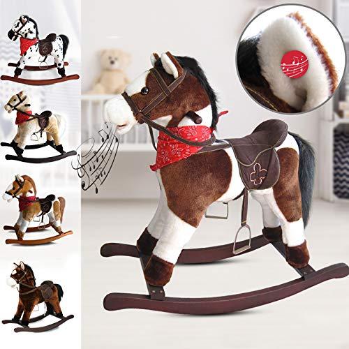 Infantastic cavallo a dondolo peluche - effetti sonori, in legno e peluche, design a scelta, l/l/a: 74/30/64 cm, max. 20kg - cavallino per bambini, giocattolo a dondolo, rocking horse