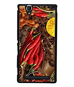 FUSON Designer Back Case Cover for Sony Xperia T2 Ultra :: Sony Xperia T2 Ultra Dual SIM D5322 :: Sony Xperia T2 Ultra XM50h (Set Of Indian Spices On Wooden Table Powder Spices)