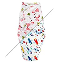 TALINU Blue Swaddle Blanket/Baby Sleeping Bag/Swaddle Cloth 100% Cotton with a Handy Velcro - Design