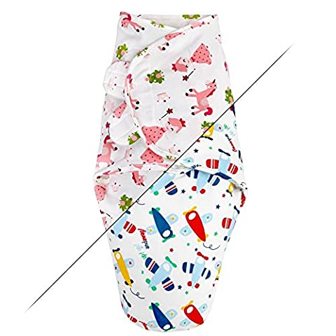 TALINU Blue Swaddle Blanket for newborn babies, 100% cotton with velcro fastners in a boys airplane design | 2 Year Satisfaction Guarantee | infant bundle sleeping bag, midwife recommended 0-3 month, 3-6 kg, baby wrap cloth, rockets planes spaceship stars space adventure baby blanket to create close safe feeling of mother´s womb, ideal during the summer
