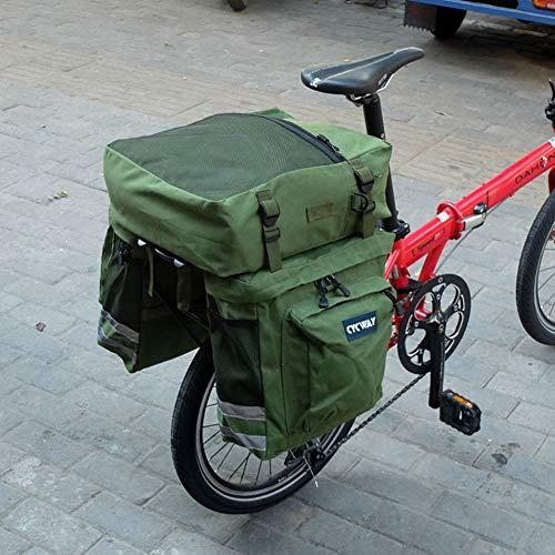 FDSEQ Fahrrad-Rücksitztasche, Mountainbike-Rückentasche,Fahrradtasche Satteltasche,Reitausrüstung, große Segeltuch-Doppelschultertasche, Regenschutz, 30L