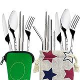 2set (11pezzi) Set, coltello, forchetta, cucchiaio in acciaio INOX Finegood bacchette cannucce, set portatile stoviglie stoviglie con valigetta per i viaggi campeggio picnic escursioni