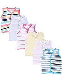 FARETO Baby Vest (Set of 6)(L-12inchs,B-10inchs)(0-5months)