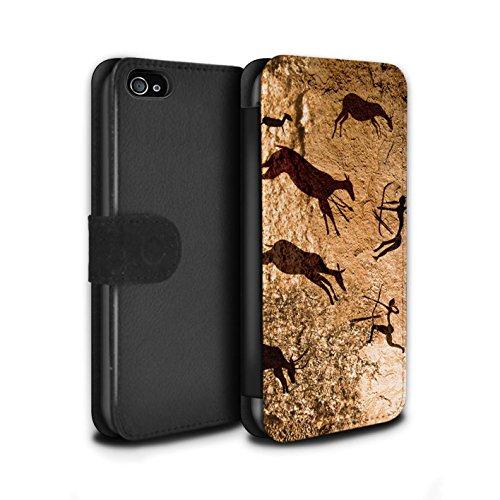 Stuff4 Coque/Etui/Housse Cuir PU Case/Cover pour Apple iPhone 4/4S / Pack 5pcs Design / Peinture Rupestre Collection Chasseurs/Marron