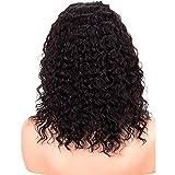Momola Perruque bouclée en cheveux naturels pour femme - Coupe courte 16'' - Perruque en dentelle de cheveux remy brésiliens 130% - avec front en dentelle - Épais Jolie à la Mode - Noir