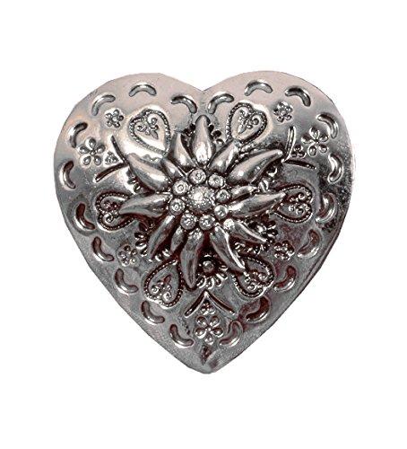 Moschen-Bayern Tuchclip Tuchspange Trachtenspange Schalclip Trachtenbrosche Silber Herz