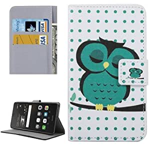 Crazy4Gadget Huawei P9 Lite Dot and Owl Pattern Leather Case with Holder & Card Slots & Wallet