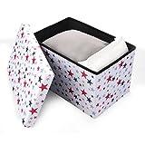 Aufbewahrungskiste, Sitztruhe, Spielzeugkiste Bunte Sterne (58 x 38 x 38 cm)