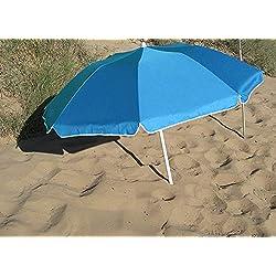 Parasol Pliable Compact Bleu Clair Diam 160 cm en Suivant la courbure. Nylon avec Protection UV UPF50+ (SGS). Longueur plié dans Son Sac: 70 cm. Idéal pour Le Camping, la Plage, la randonnée.