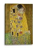 Gustav Klimt - Der Kuss (1907-1908), 70 x 100 cm (weitere Größen verfügbar), Leinwand auf Keilrahmen gespannt und fertig zum Aufhängen, hochwertiger Kunstdruck aus deutscher Produktion (Alte Meister bis Moderne Kunst). Stil: Jugendstil, Symbolismus, Moderne Kunst, Wiener Secession, Klassizismus, Realismus, Surrealismus