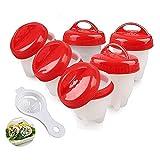 Antiaderente Egg Cooker Cuociuova Boiler 6 PCS, Ottieni Cuoci Uova Sode Senza la Shell con Separatore Tuorlo d' Uovo (Approvato dalla FDA Senza BPA)
