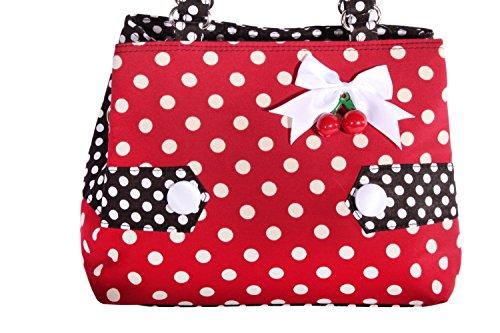 f89d7dd0361c7 ... SugarShock Polka Dots Uniform rockabilly RETRO Kirschen Handtasche  Tasche weinrot - 4 ...