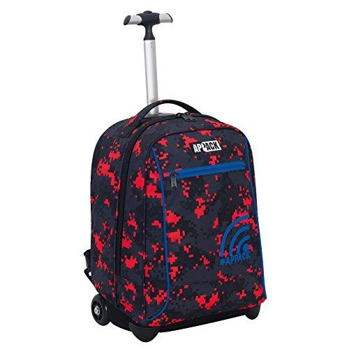 Big trolley appack , new gen , nero rosso , 35 lt , 2in1 zaino  con spallacci a scomparsa , scuola & viaggio