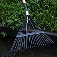 Dedeka Professional Adjustable Garden Leaf Rake,22 Tooth Durability Garden Leaf Rake Folding Head for Quick Clean Up of Lawn and Yard