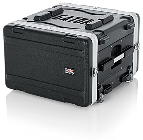 Gator Molded PE 6U 19.25 inch Rack Case with Front / Rear Rails / Pull Handle / Recessed Wheels and Locking