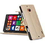 Nokia Lumia 930 Hülle, JAMMYLIZARD Retro Ledertasche Flip Cover für Nokia Lumia 930, CAPPUCCINO