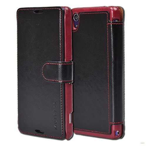 Mulbess Layered Dandy Ledertasche im Bookstyle und Kartenfach für Sony Xperia Z2 hülle Tasche Leder,Schwarz