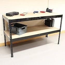Hardcastle Table de Travail 1.5m en Acier avec 2 Etagères - Noir