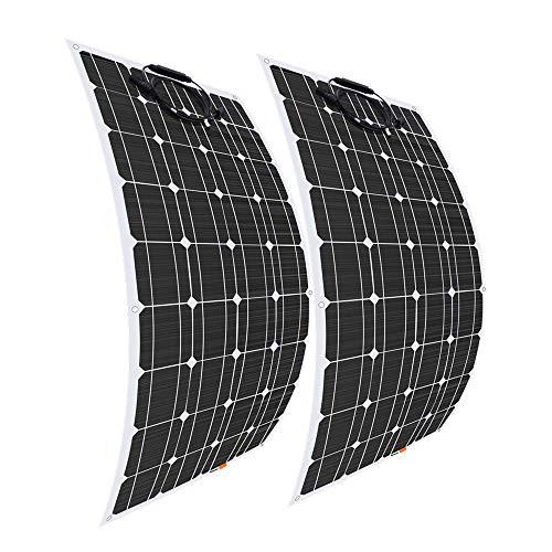 Preisvergleich Produktbild Giosolar Solarmodul,  100 W,  12 V,  flexibel,  monokristallines Solar-PV-Panel,  für Wohnmobil,  Wohnwagen,  Wohnmobil,  Boot,  Yacht,  2 Stück