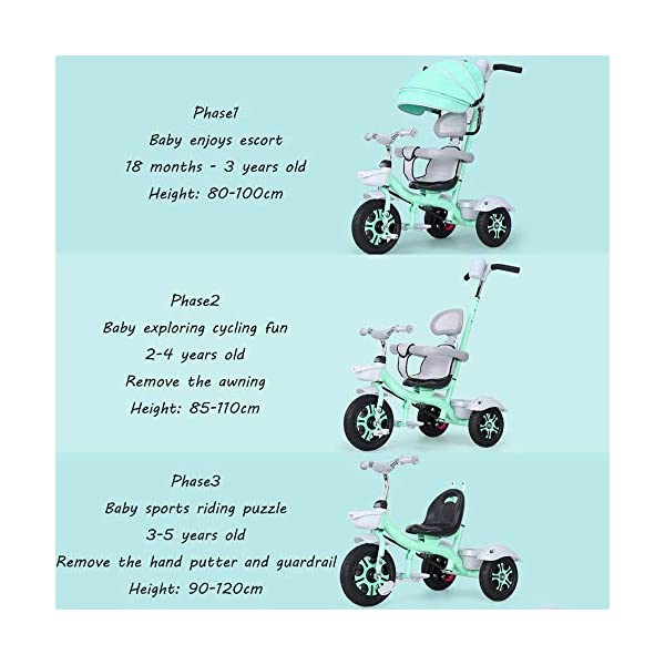 BGHKFF 3 In 1 Childrens Tricycles 1.5 To 5 Years 360° Swivelling Saddle Folding Sun Canopy Children's Pedal Tricycle Adjustable Handle Bar Blockable Rear Wheels Child Trike Maximum Weight 50 Kg,Cyan BGHKFF ★Material: High carbon steel frame, suitable for children aged 1.5-5, maximum weight 50 kg ★ 3-in-1 multi-function: convertible into stroller and tricycle. Remove the hand putter and awning, and the guardrail as a tricycle. ★Safety design: golden triangle structure, safe and stable; guardrail; rear wheel double brake 2