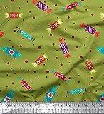 Soimoi Grun Baumwoll-Voile Stoff dot & Süßigkeiten