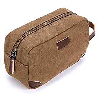 IGNPION Travel Cosmetic Wash Bag Unisex Toiletry Bag Vintage PU Canvas Compact Travel Make up Shaving Dopp Kit with Handle