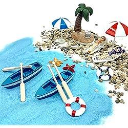 Emien Ensemble de 18 pièces style de plage, ornements miniature, ensemble de kits pour DIY, jardin enchanté, maison de poupée, décoration, sable bleu,adorables filles,chaise de plage,bateau,deux rames