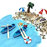 EMiEN 18 Stück Miniatur-Ornament-Set für DIY Fee, Garten, Puppenhausdekoration, Blauer Sand, süße Mädchen, Strandstuhl, Boot, Ruder, Strandschirme, Kokosnusshalm, Hebeboje, Seestern