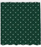 Abakuhaus Fleur De Lis Duschvorhang, Antike Barock, Set inkl.12 Haken aus Stoff Wasserdicht Bakterie und Schimmel Abweichent, 175 x 200 cm, Jäger und salbeigrün