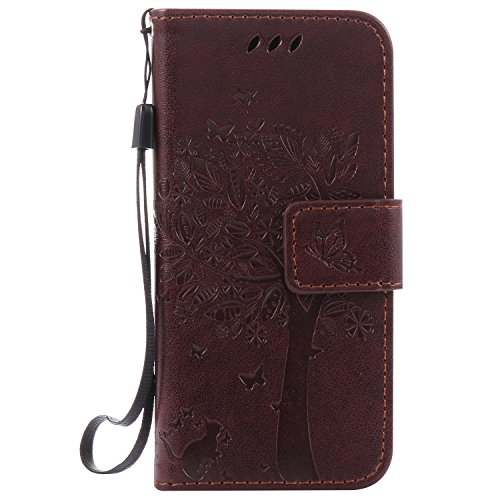 Price comparison product image Apple iPod Touch 6 / 5 Case Leather [Brown], Cozy Hut [Wallet Case] Premium Soft PU Leather Notebook Wallet Embossed Flower Tree Design Case with [Kickstand] Stand Function Card Holder and ID Slot Slim Flip Protective Skin Cover for Apple iPod Touch 6 / 5 Generation- Brown