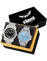 Skemi Analog Round Dial Men-Woman Watch/Fashionable Couple Watch/Watches For Couple Combo-058