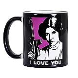 Elbenwald Star Wars Tasse I Love You I Know mit Han und Leia Keramik schwarz