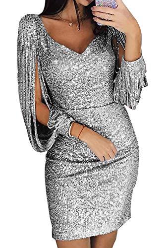 ORANDESIGNE Damen Abendkleider Sexy V-Ausschnitt Cocktailkleid Glänzend Hoch Maxikleider für Hochzeit Festlich Silber DE 36
