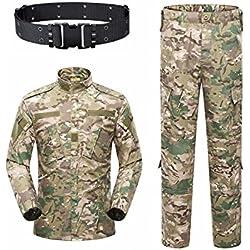 KYhao Traje táctico militar de camuflaje para hombre, caza, combate BDU, camisa uniforme y pantalones con cinturón para tiro, caza, juego de guerra, airsoft, paintball, XL, CP