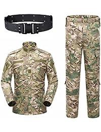 KYhao - Traje táctico Militar de Camuflaje para Hombre, Caza, Combate BDU, Camisa Uniforme y Pantalones con cinturón para Tiro, Caza,…