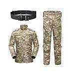 KYhao - Traje táctico Militar de Camuflaje para Hombre, Caza, Combate BDU, Camisa Uniforme y Pantalones con cinturón para Tiro, Caza, Juego de Guerra, Airsoft, Paintball, S, CP