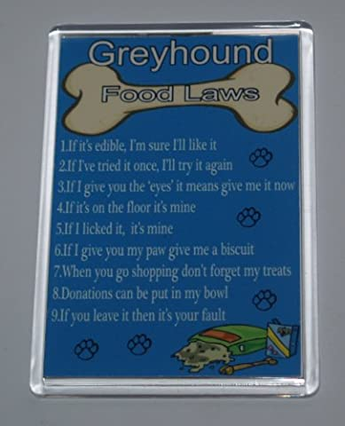 Dog Food Laws/Rules Greyhound Funny Fridge Magnet – Ideal Christmas