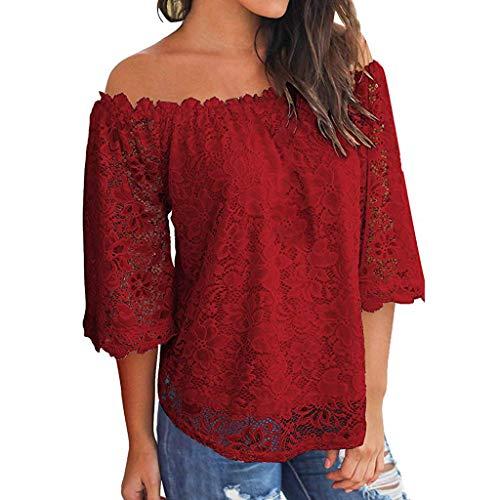 Zegeey Damen Oberteile T-Shirt Kurzarm Aus Festem Spitzen-Patchwork AushöHlen Bluse Top Sommer Shirt(X24-Wein,EU-36/CN-S)