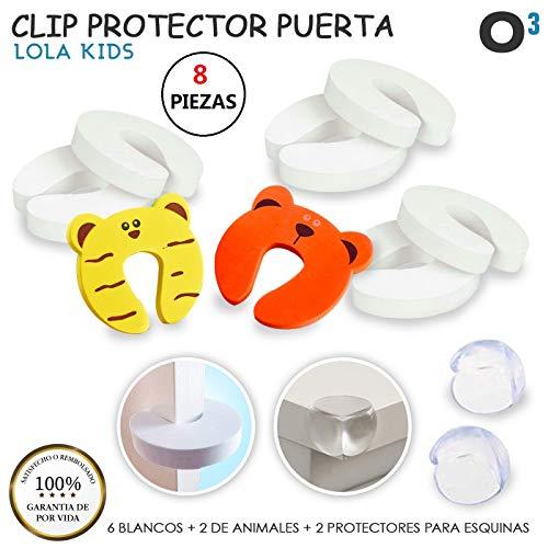 O³ Clip Protector Puertas Tope Puerta Bebe 8 Pcs - 6 Blancos + 2 Colo